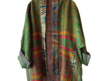 City girl silk kantha plus size reversible kimono jacket