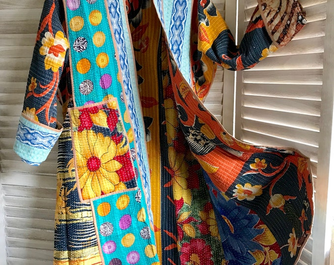 Super delicious color combo reversible artist designer kantha coat