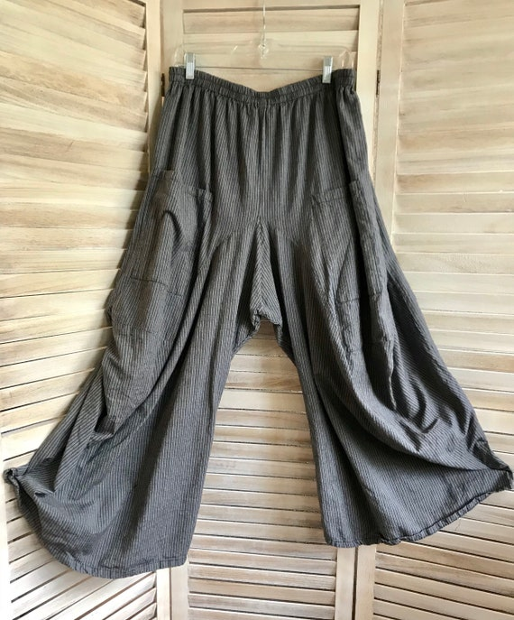 Extra large menswear cotton pinstripe lagenlook pant in taupe