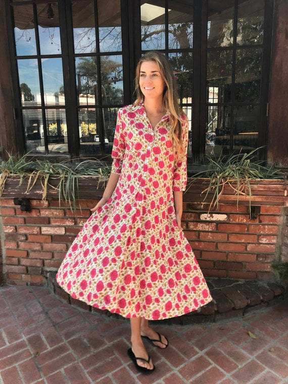Rosey posey Cotton voile floral housedress