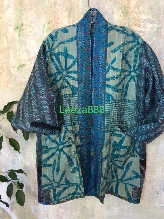 Waterlily  kantha plus size reversible kimono jacket