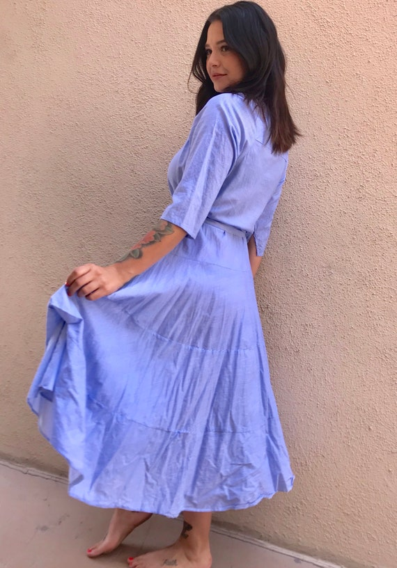 Outlander dress in blue micro pinstripe cotton voile