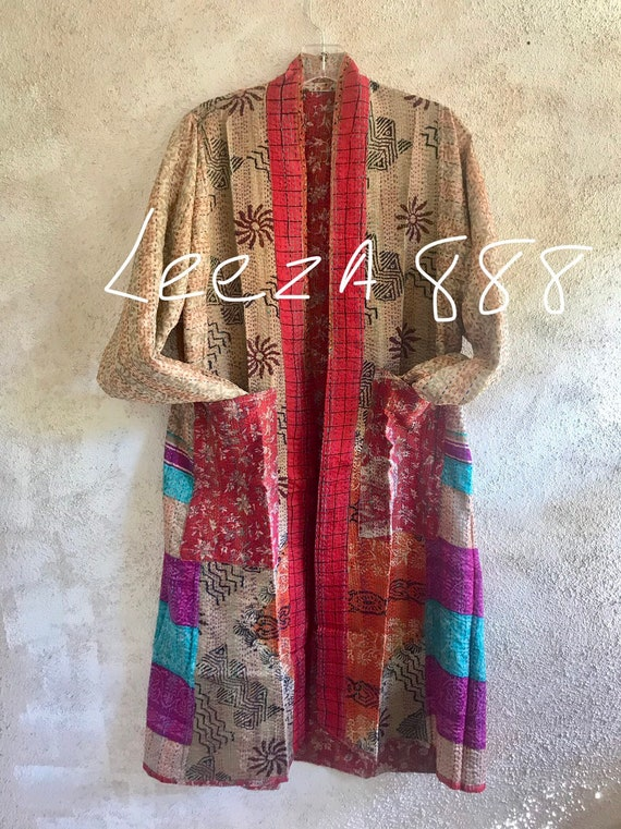 Montreal evening kimono in silk kantha reversible silk