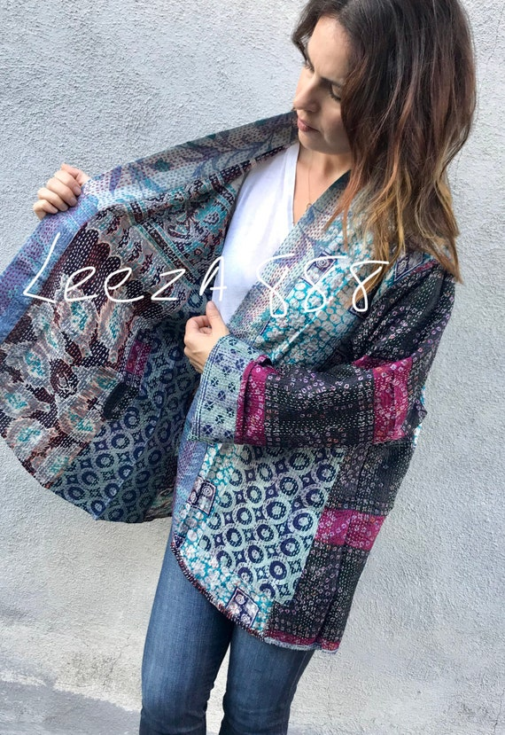 Plus size silk kantha denim colored reversible kimono