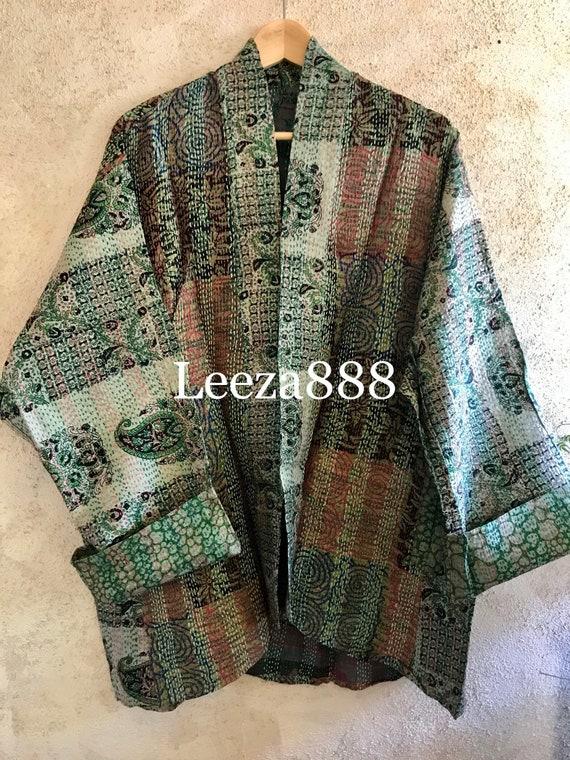 Practical Magic silk kantha plus size reversible kimono jacket