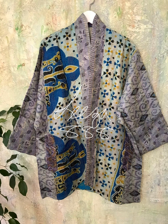 Colorado road trip silk kantha plus size reversible kimono jacket
