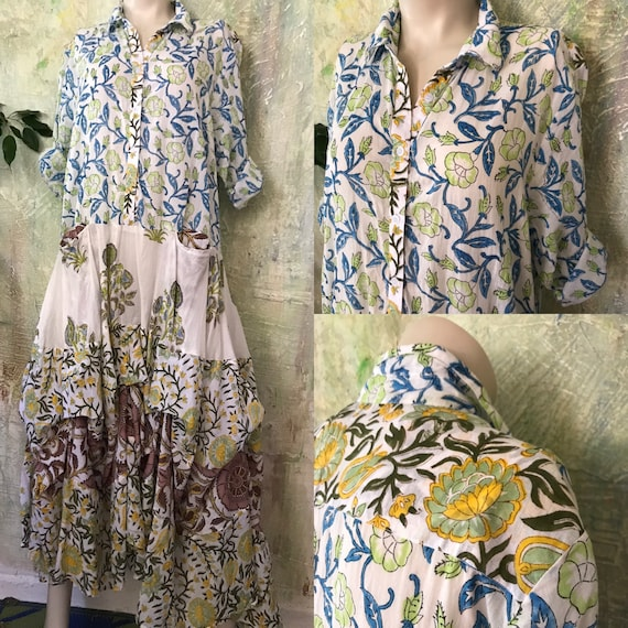 Mixed floral Shirtwaist prairie dress mixed print hand  wood block print housedress