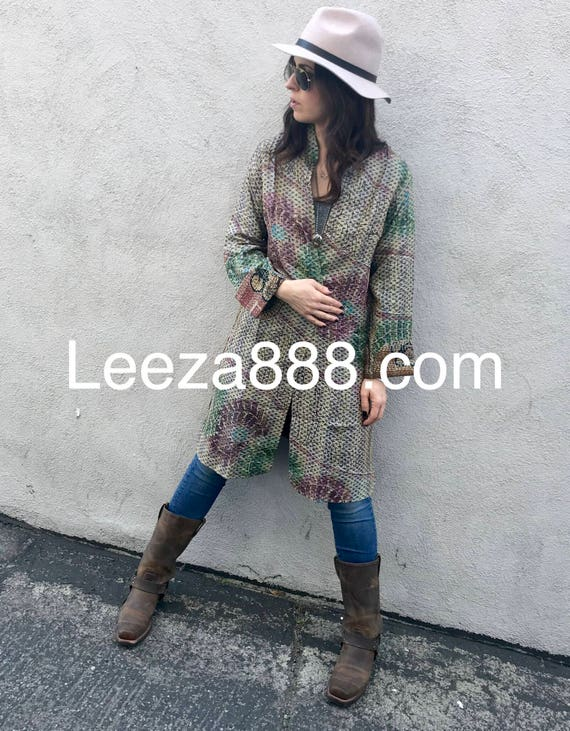 Safari One of a kind, cannot be duplicated, silk kantha reversible coat  my daughter is the model