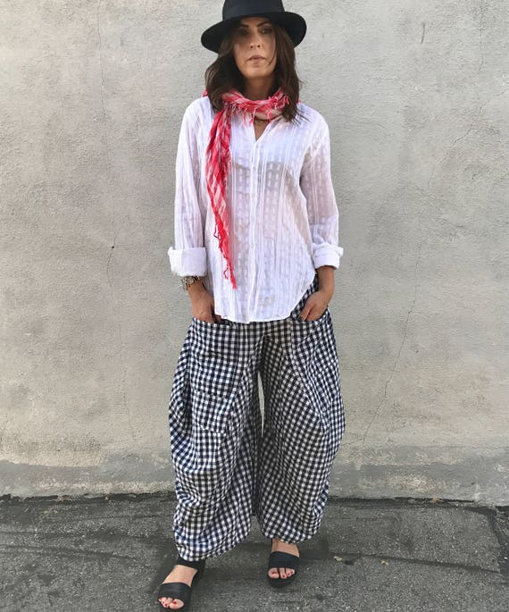 Black and white gingham check lagenlook pant