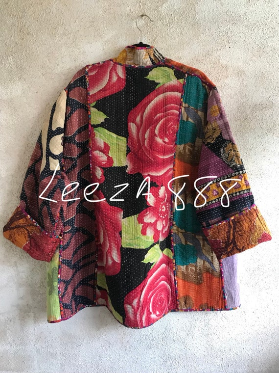 plus size rose garden reversible cotton jacket
