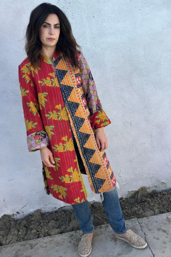 Beautiful reversible artist kantha duster