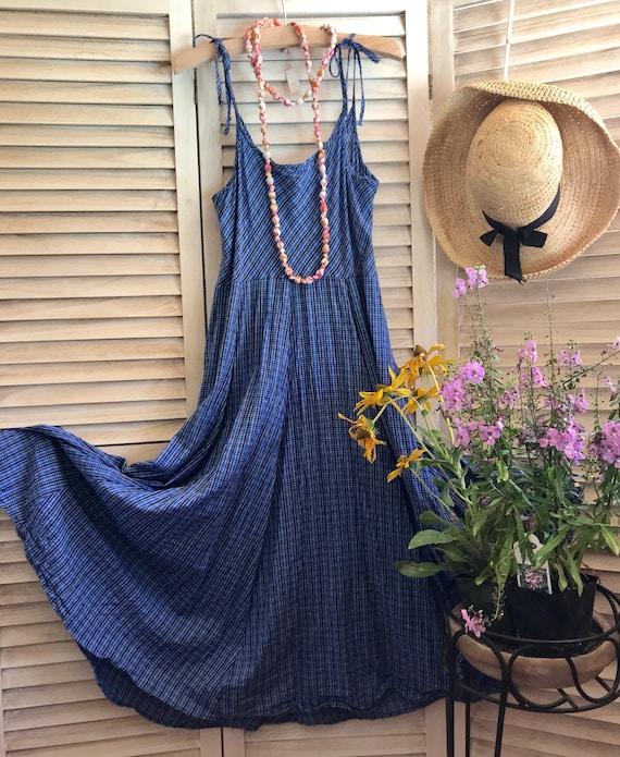 Spaghetti strap cotton sundress in denim blue cotton plaid