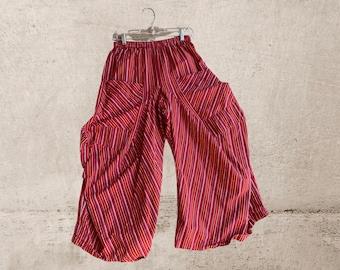 Medium weight fabulous red cotton  chambray stripe lagenlook pant