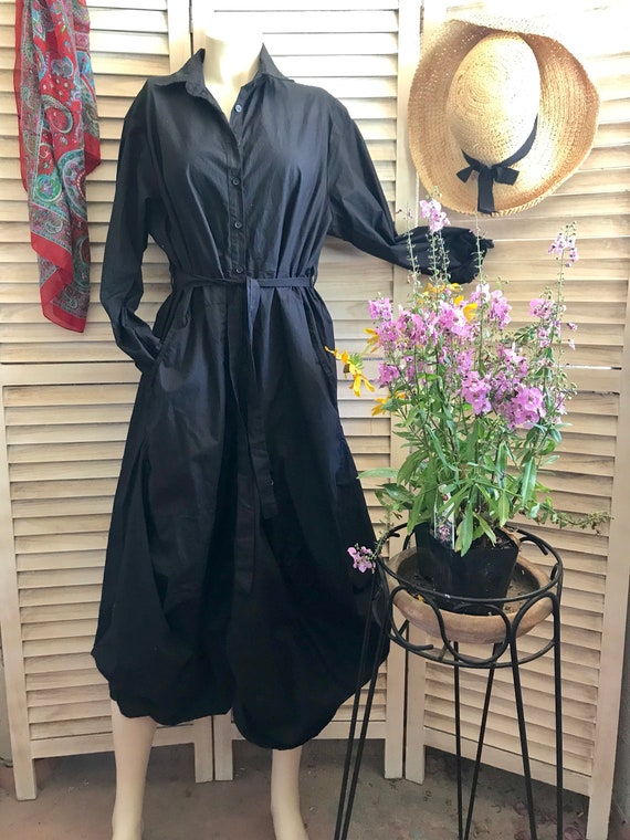 Stunning lagenlook funky dress in black poplin cotton