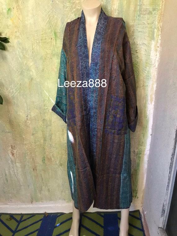 Rocky Mountain High plus size reversible silk kantha duster/kimono