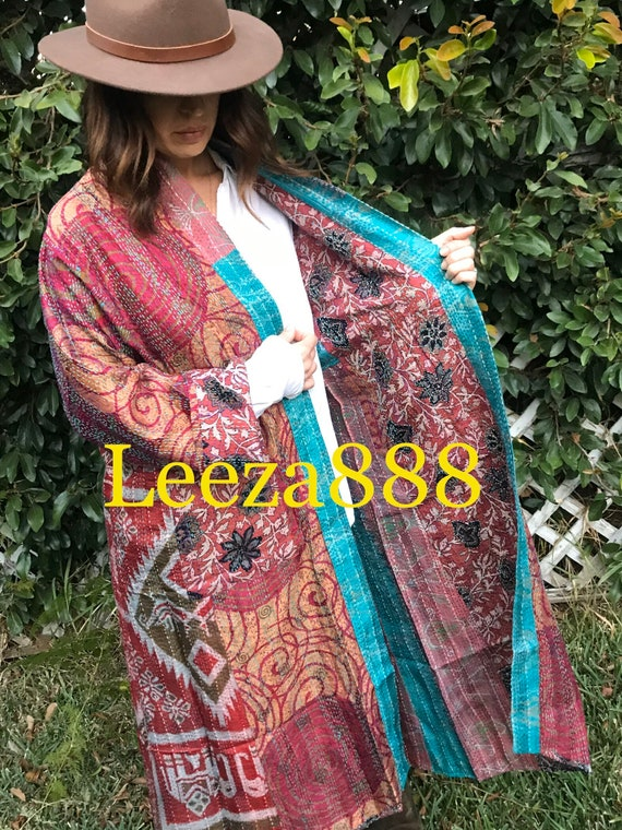 Vineyard tasting tour plus size reversible silk kantha duster/kimono