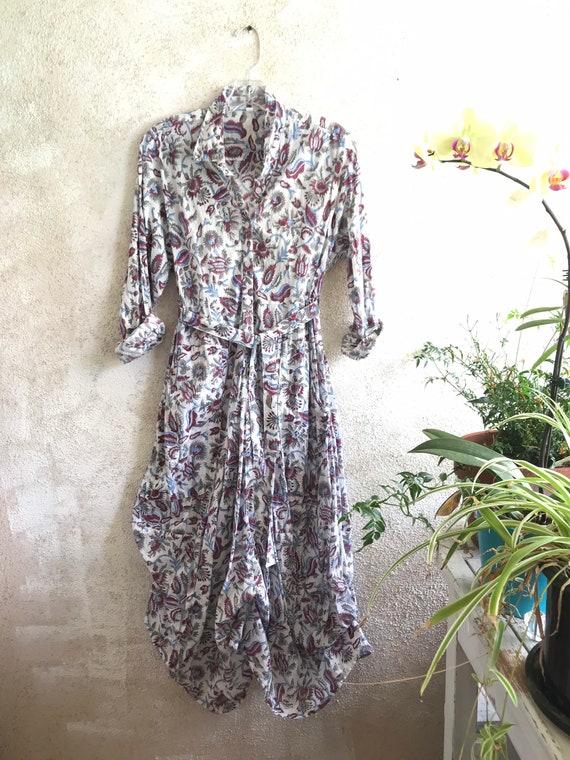 Vintage floral print funky dress with sleeves