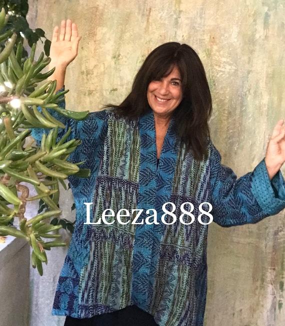 River Runs kantha plus size reversible kimono jacket
