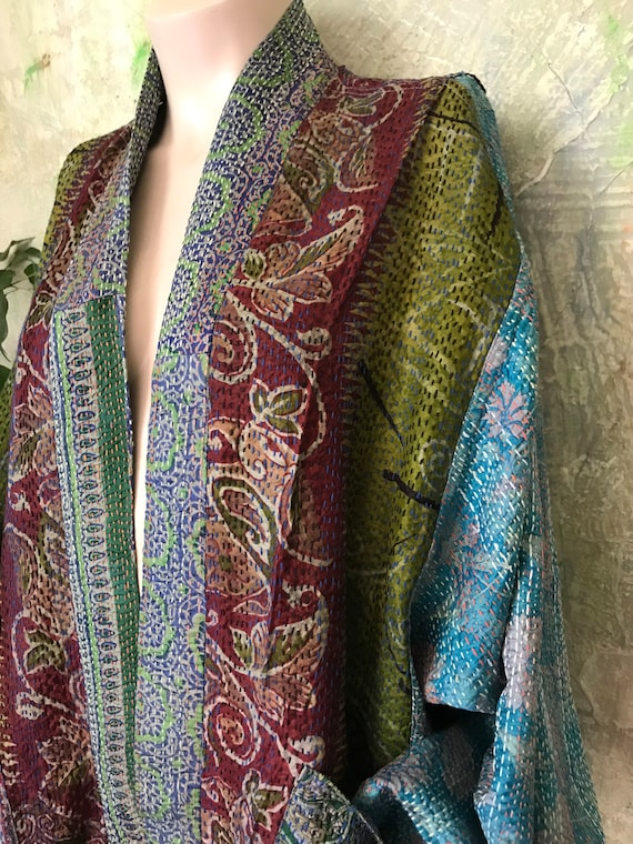 The Queen's Tapestry plus size reversible silk kantha duster/kimono
