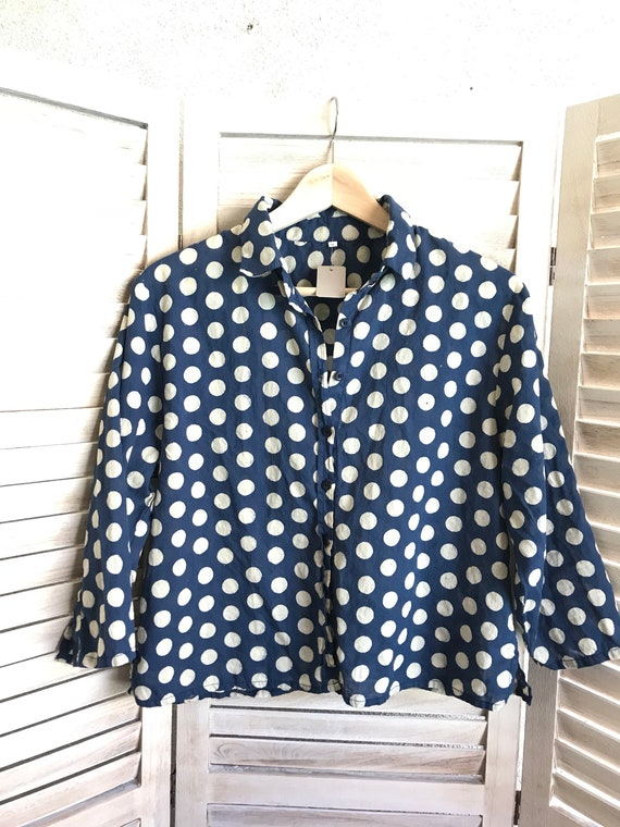 Block print polka dot cropped cotton voile shirt