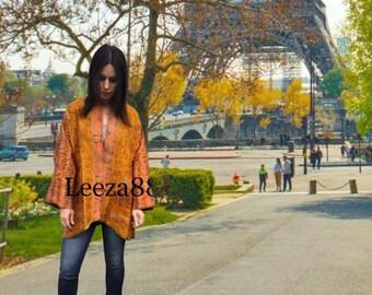 Spanish Saffron kantha plus size reversible kimono jacket