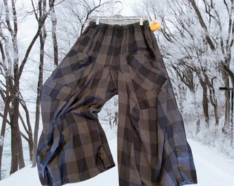 Grey and charcoal subtle flannel plaid fabulous cotton lagenlook pant