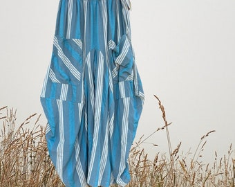 Teal and sage with grey stripes fabulous cotton lagenlook pant