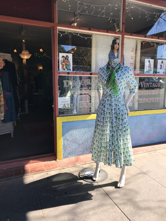 Green monkey print button down shirtwaist dress in cotton voile