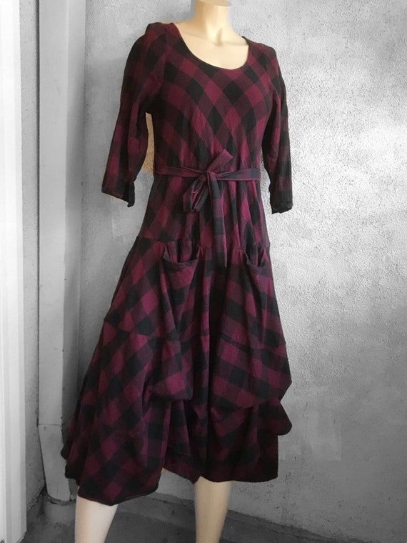 Plaid flannel outlander prairie dress in burgandy
