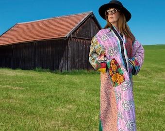 Tropical Brazil plus size reversible opera kantha coat