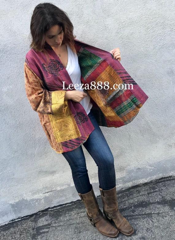 Gorgeous plus size silk kantha jacket/kimono