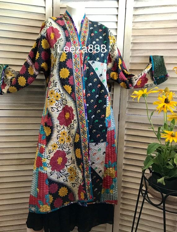 Artiste coat in reversible patchwork cotton quilt