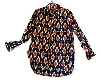 Classic Boyfriend shirt in cotton voile geo print