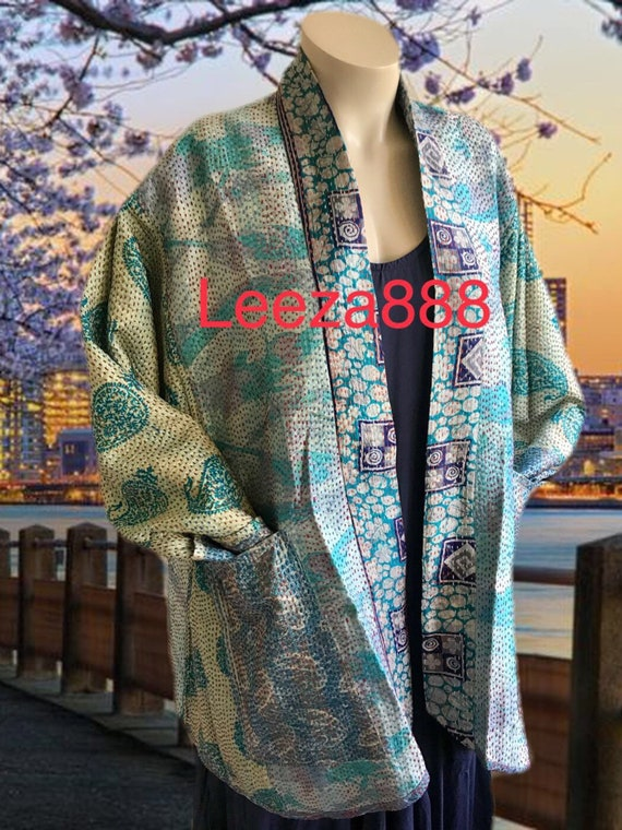 Lavender silk kantha jacket in plus size
