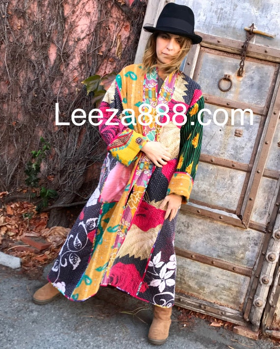 Plus size cotton kantha quilt stunning opera length coat