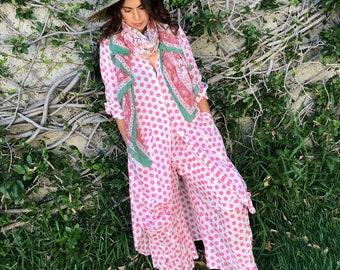 Pink polkadot block print cotton voile shirtdress/duster