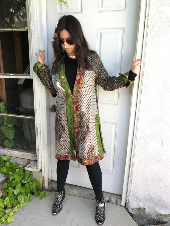 Gucci green reversible silk kantha duster in amazing vintage fabric