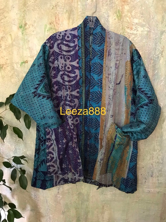 River Runs kantha plus size reversible kimono jacket