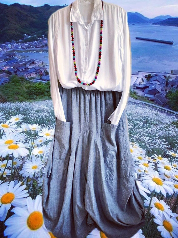 Grey chambrey lagenlook skirt