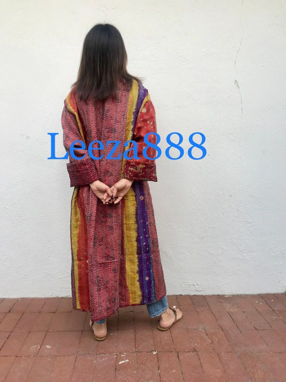 Love Peace and Happiness in a plus size reversible silk kantha duster/kimono