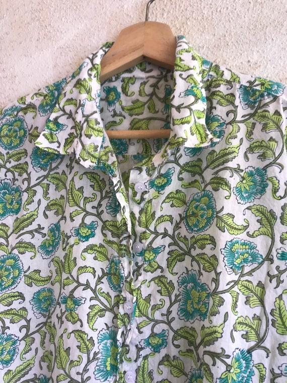 Washed hand blockprint green cotton voile classic button down boyfriend shirt