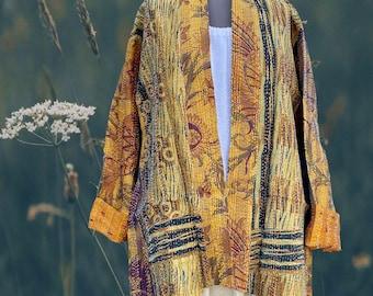 Field's of Gold silk kantha plus size reversible kimono jacket
