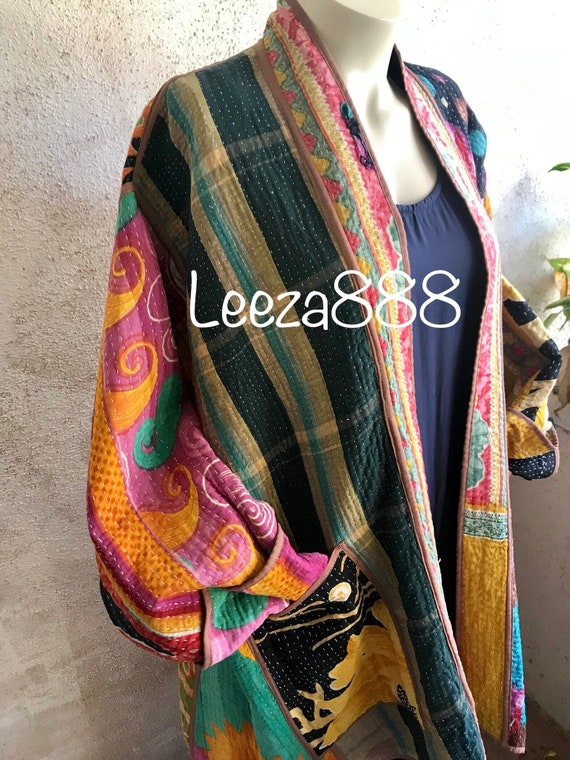 Plus size cotton kantha curated jacket