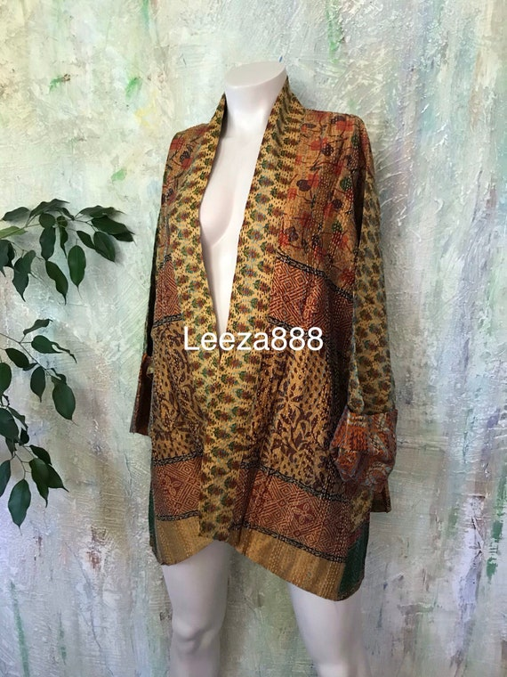 Gold like Gustav silk kantha plus size reversible kimono jacket