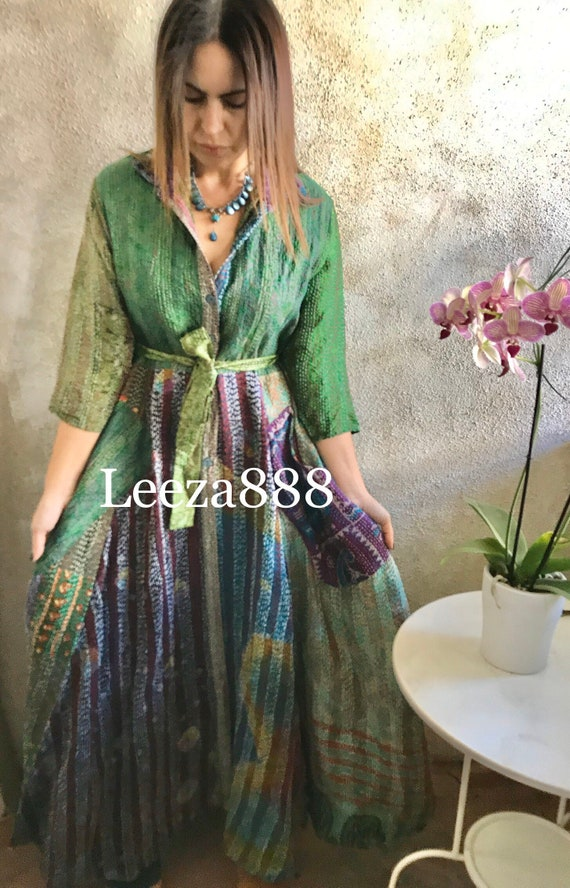 Mermaid color Upcycled SIlk Kantha Button down shirtdress