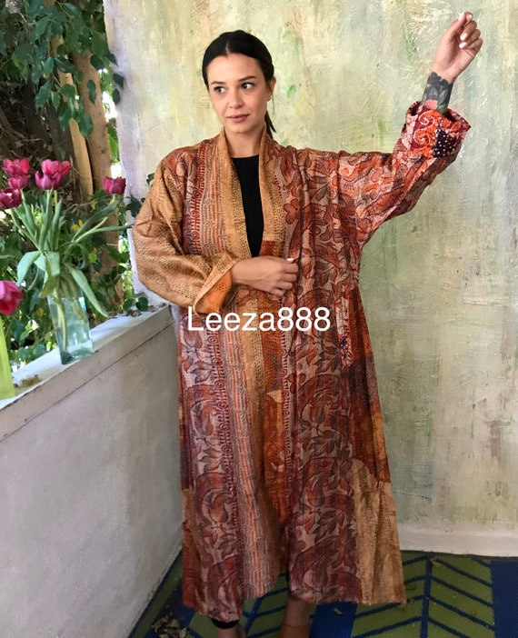 The Red Queen  plus size reversible silk kantha duster/kimono