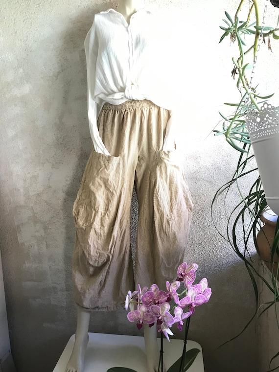 SAND stripe cotton lagenlook pant