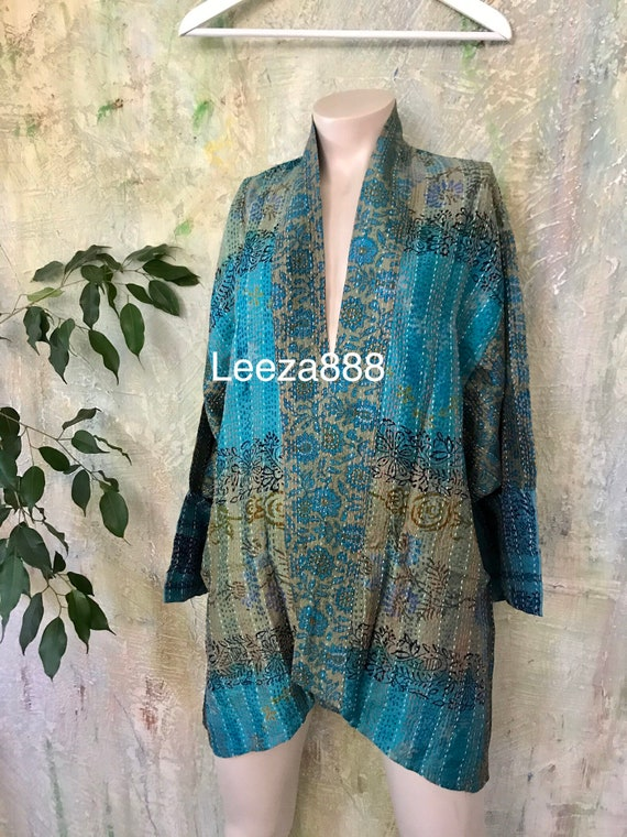 Concert in the park silk kantha plus size reversible kimono jacket