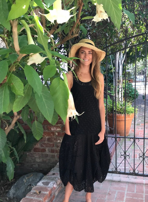 Schiffli embroidery sleeveless black prairie dress