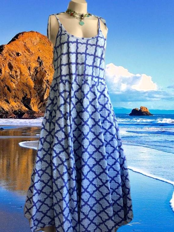 Cotton poplin blockprint spaghetti strap dress